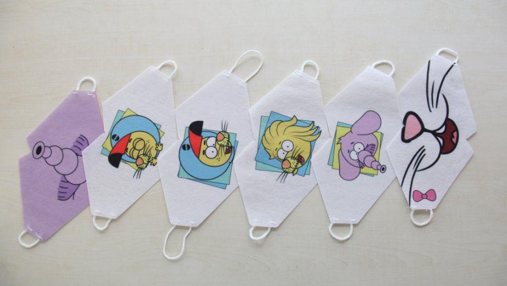 Çocuklar için ilk maskeler karikatürlü üretildi