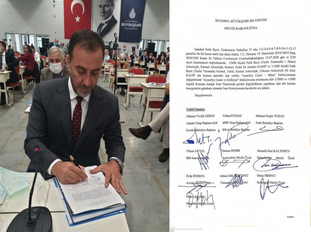 Başkan Yılmaz, Ayasofya için plan değişikliği önergesine imza attı