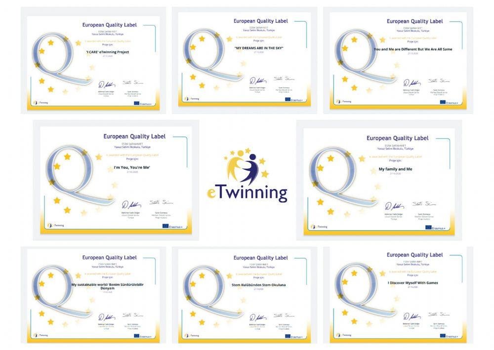 Sekiz projelerinin tamamından Avrupa Kalite Etiketi aldılar