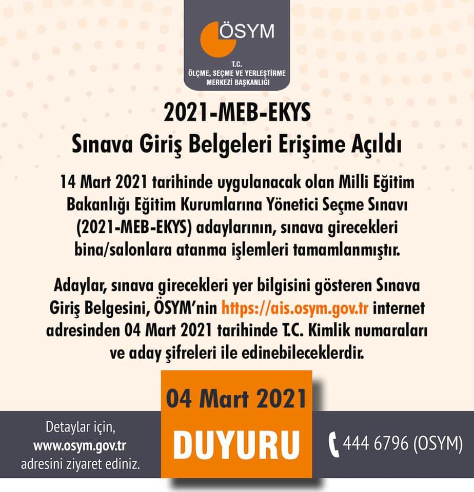 2021-MEB-EKYS Sınava giriş belgeleri erişime açıldı