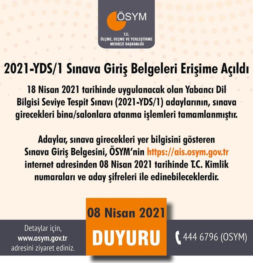 2021-YDS/1 Sınava Giriş Belgeleri erişime açıldı