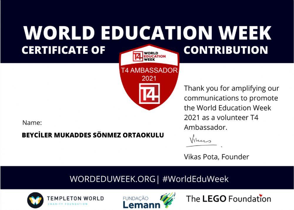 Beyciler Ortaokulu'na 2021 Dünya Eğitim Haftası Katılım Sertifikası